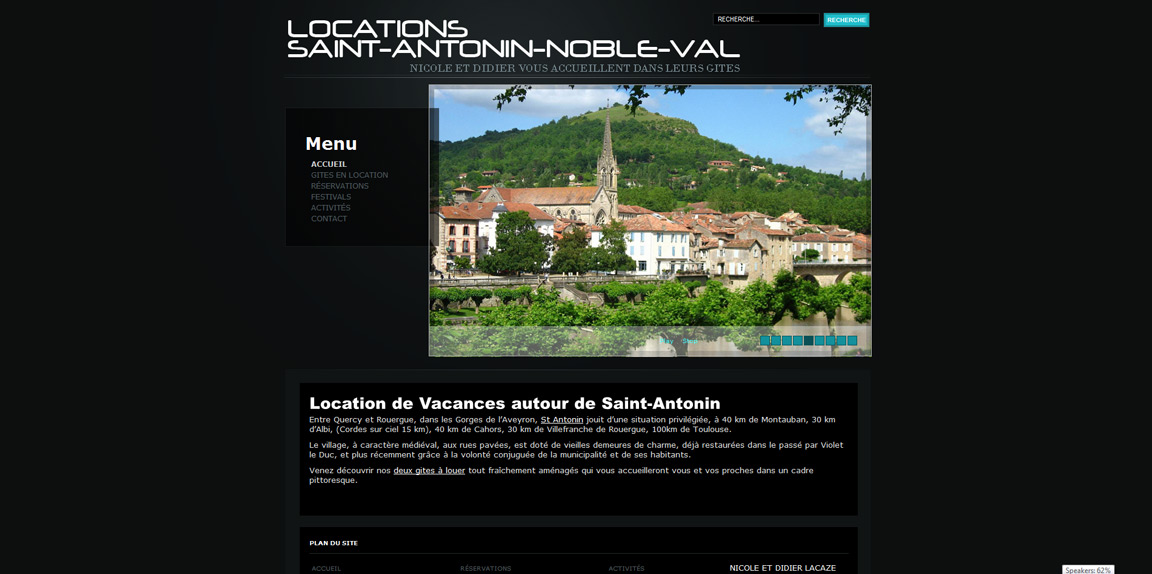 Site Internet Gite en location à Saint Antonin Noble Val